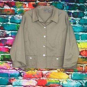 Chico's Women's Blazer Jacket Beige Cotton Size 2